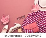 autumn arrives. fashion lady... | Shutterstock . vector #708394042