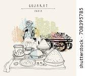 spice market in gujarat  india. ... | Shutterstock .eps vector #708395785