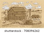 old farm or ranch with... | Shutterstock .eps vector #708396262