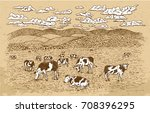 cows feeding on the grassland ... | Shutterstock .eps vector #708396295