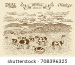 farmland with cows  vignette... | Shutterstock .eps vector #708396325