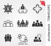 business meeting icons ... | Shutterstock .eps vector #708401092