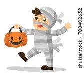 happy halloween. funny little... | Shutterstock .eps vector #708402652