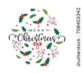 merry christmas glittering card ... | Shutterstock .eps vector #708403342