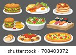 set of traditional food. let's... | Shutterstock .eps vector #708403372