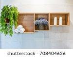 bathroom set with towels ... | Shutterstock . vector #708404626