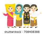 indonesian children, girls wearing traditional dress cartoon vector