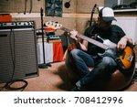 bass guitarist playing guitar... | Shutterstock . vector #708412996