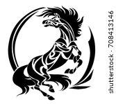 vector silhouette of horse.... | Shutterstock .eps vector #708413146