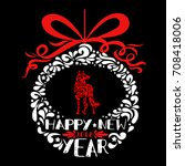 happy new year greeting card.... | Shutterstock .eps vector #708418006