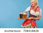 young sexy oktoberfest girl  ...   Shutterstock . vector #708418828