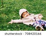 baby girl wearing knitted... | Shutterstock . vector #708420166