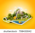 mountain in forest  green... | Shutterstock . vector #708433042