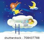 Cute Cartoon Fairy Flies Flyin...