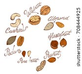 different nuts drawn by hand in ... | Shutterstock .eps vector #708444925