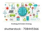 modern flat thin line design... | Shutterstock .eps vector #708445366