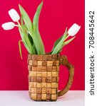 Three White Tulips In A Braide...