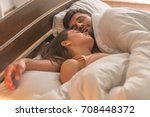 the sleeping couple relax in... | Shutterstock . vector #708448372