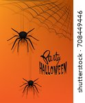 halloween party poster with... | Shutterstock .eps vector #708449446