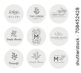 hand drawn logo collection.... | Shutterstock .eps vector #708452428