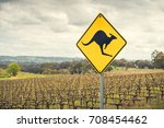 kangaroo road sign on a side of ... | Shutterstock . vector #708454462