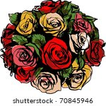 a bouquet of colorful roses on... | Shutterstock .eps vector #70845946