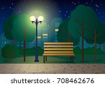 night landscape with a bench in ... | Shutterstock .eps vector #708462676