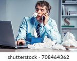 sick worker with paper tissues... | Shutterstock . vector #708464362