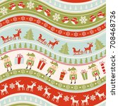 christmas seamless colorful... | Shutterstock .eps vector #708468736