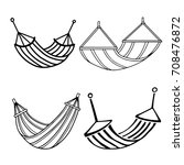 hammocks set. black line  hand... | Shutterstock .eps vector #708476872