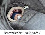 newborn in winter sleeping in... | Shutterstock . vector #708478252
