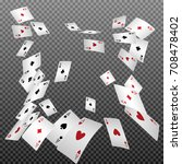playing cards falling on a... | Shutterstock .eps vector #708478402