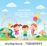 children at the amusement park | Shutterstock .eps vector #708489895