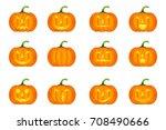 halloween pumpkin vector icons... | Shutterstock .eps vector #708490666