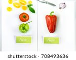 colored set green red yellow of ... | Shutterstock . vector #708493636
