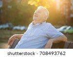 outdoor portrait of senior man... | Shutterstock . vector #708493762