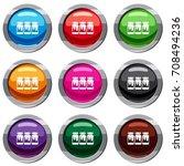 three plastic jars with gouache ...   Shutterstock .eps vector #708494236
