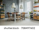 cozy loft with dinning table ... | Shutterstock . vector #708497602
