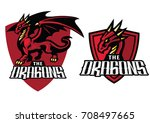 Red Dragon Mascot Shield Banne...