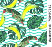 tropical seamless vector... | Shutterstock .eps vector #708497962