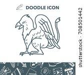 griffin doodle | Shutterstock .eps vector #708501442