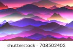 abstract neon mountain... | Shutterstock .eps vector #708502402