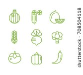 fruit and vegetable icon set | Shutterstock .eps vector #708504118
