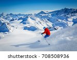 skiing with amazing view of... | Shutterstock . vector #708508936