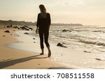sad blond barefoot woman... | Shutterstock . vector #708511558