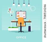 office interior with desktop ...   Shutterstock .eps vector #708514246