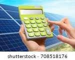 woman holding calculator and... | Shutterstock . vector #708518176