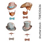 set of hats and beards. hand... | Shutterstock .eps vector #708520636