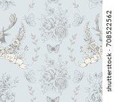 seamless pattern with deer ... | Shutterstock .eps vector #708522562