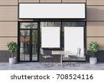 beige cafe exterior with a... | Shutterstock . vector #708524116